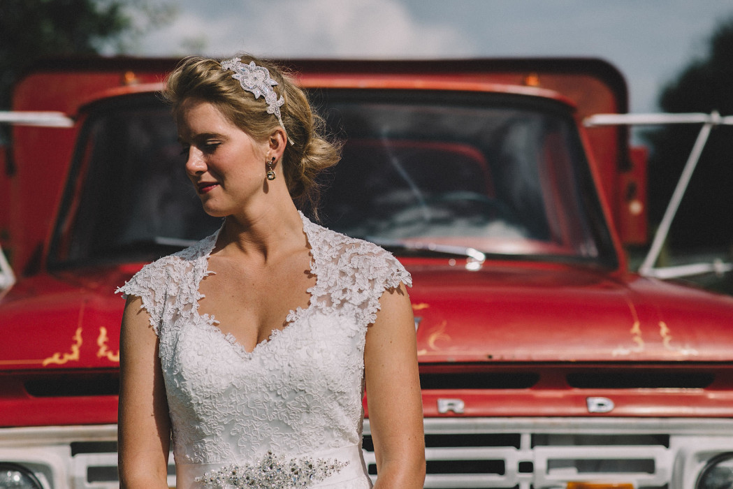 bridal portrait with an historic ford truck