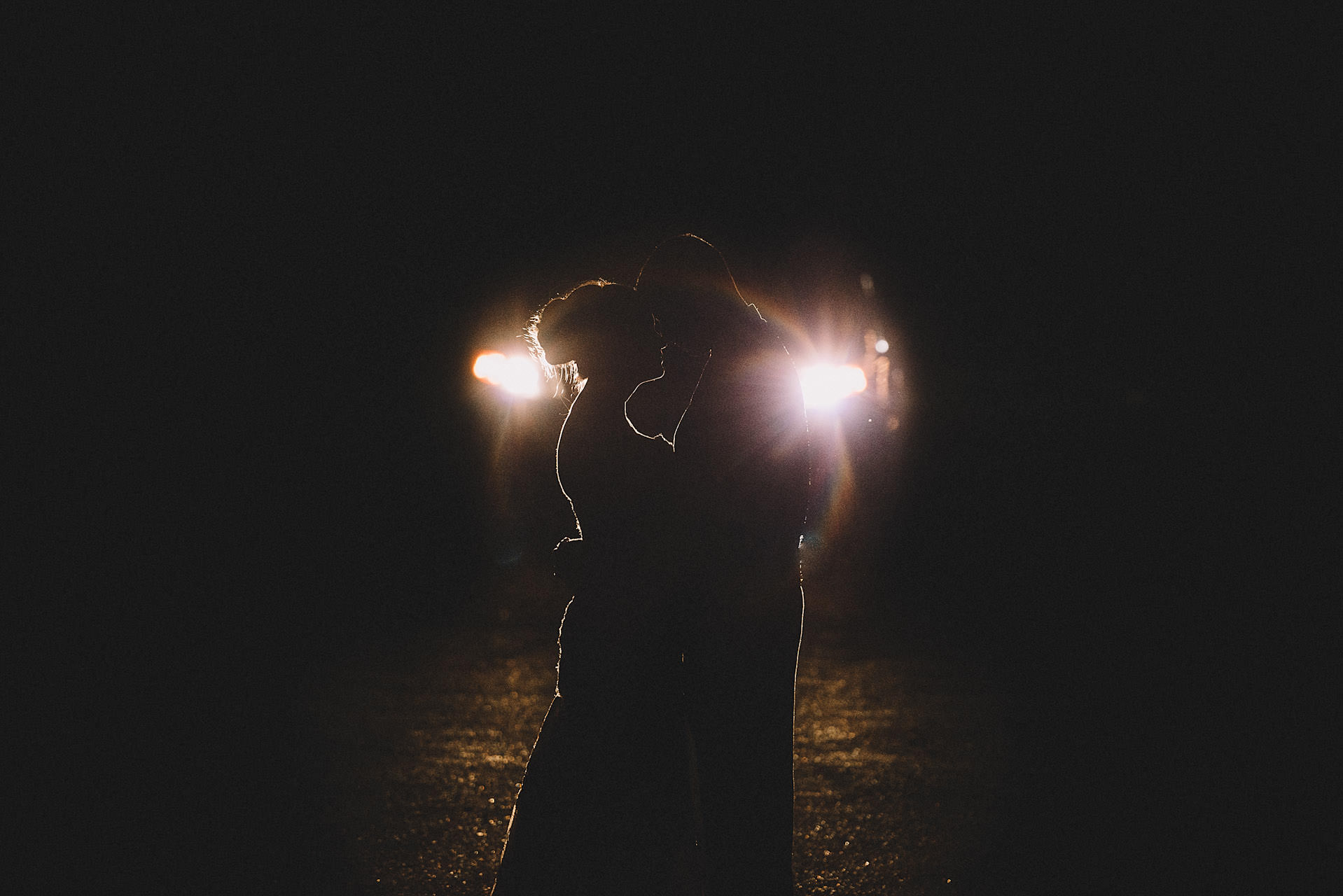 beautiful nighttime wedding portrait