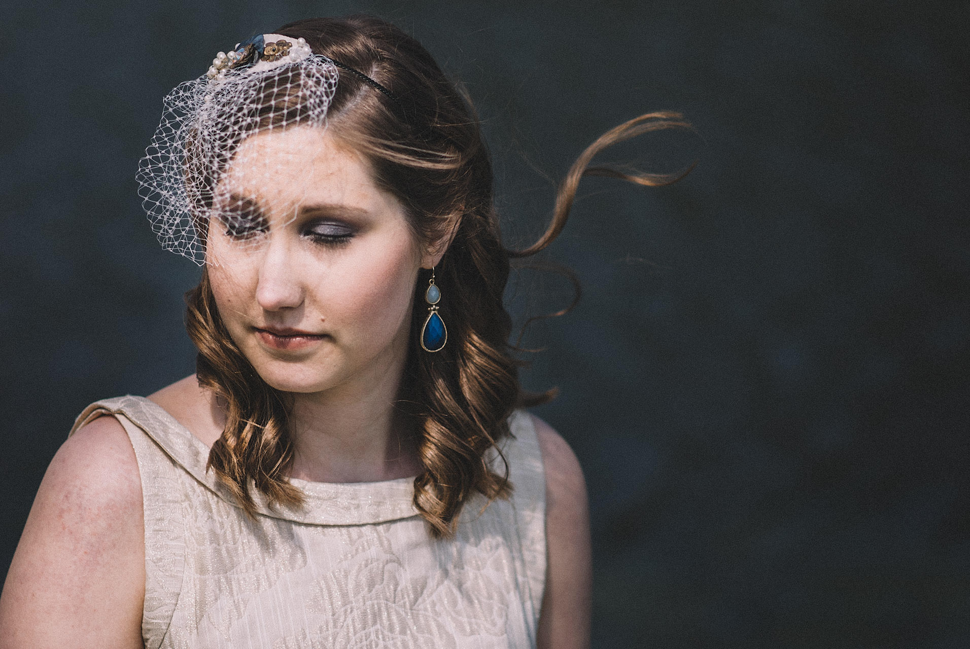 bridal portrait at a lake