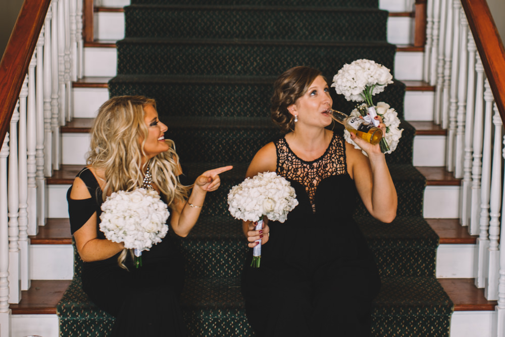 bridesmaids drinking at Wedgewood Country Club wedding photography in Columbus