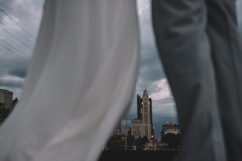 columbus wedding couple looking over the city