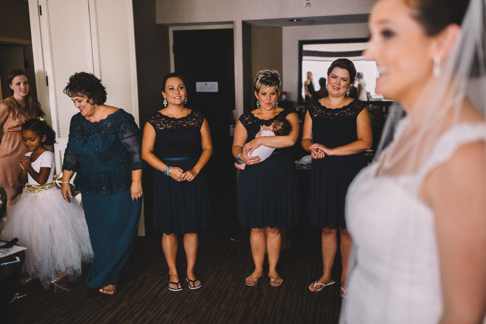 ohio bridesmaids seeing the bride for the first time