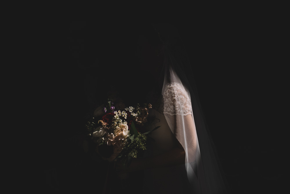 dark, emotional bridal portrait in columbus ohio