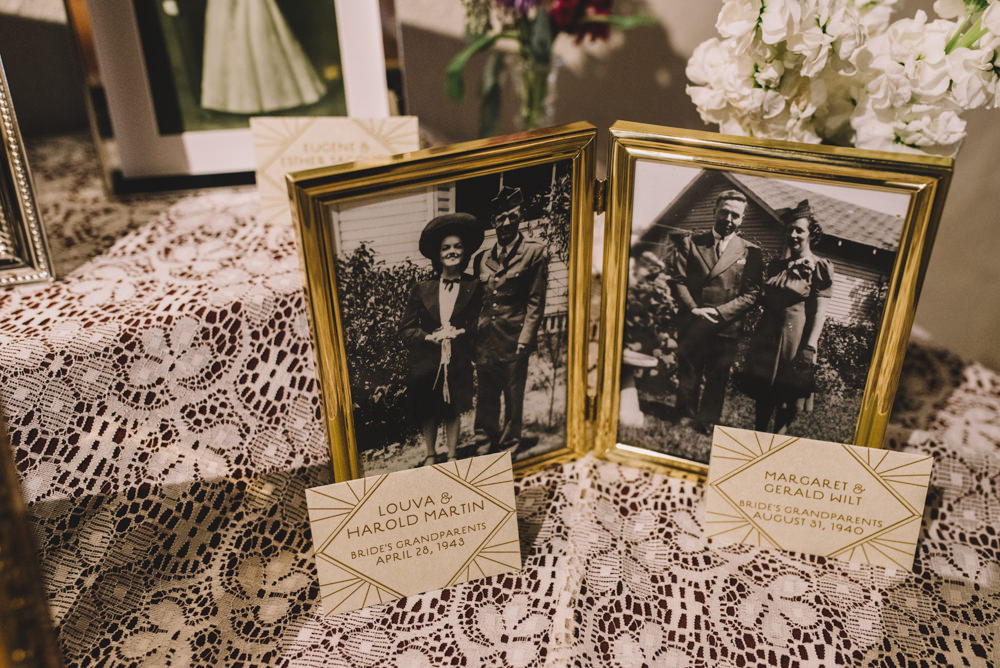 pictures of the wedding couple's grandparents