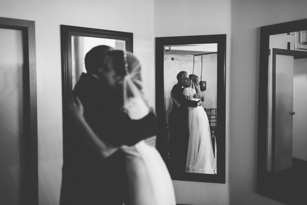 bride seeing her dad for the first time at a via vecchia winery wedding photography
