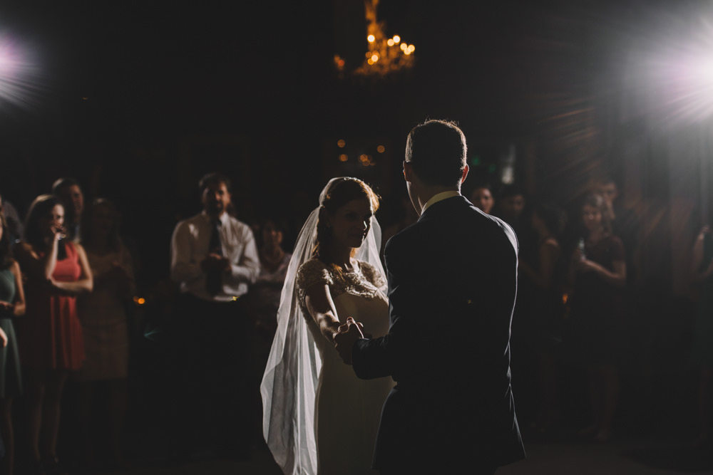 bride and groom having their first dance at a via vecchia winery jewish wedding photography